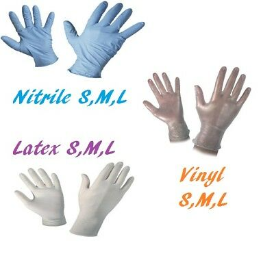 Box of 100 Powder Free Disposable Gloves Latex Vinyl or Nitrile Multi Purpose