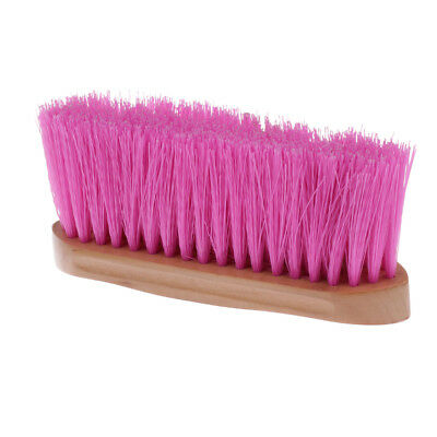 Horse Hair Mane Tail Brush Pony Dust Removing Equipment w/ Wood Grip Pink