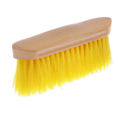 Horse Brush Body Hair Cleaning Tool Equestrian Equipment w/ Wood Grip Yellow