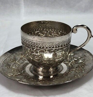 Antique Chinese Export Silver Small Cup & Saucer Tigers Elephants People 206g