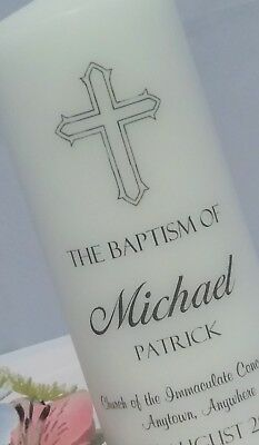 Personalised Baptism candle gift (add name, date, church)