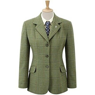 Caldene Girls Competition Jacket Southwold Tweed Check Green Jacket Size - 28in