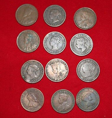 Twelve Old Canadian One Cent Coins late 1800's - Early 1900's