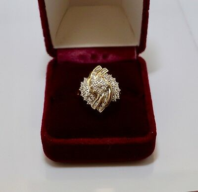 Womens Estate 10K Yellow Gold 0.50ctw Diamond Cluster Cocktail Ring Size 7.25