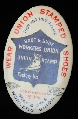 Antique Victorian Boot & Shoe Workers Union Pocket Purse Mirror Advertising Memo