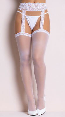 One Size Fits Most Womens Sheer Lace Top Stockings With Attached Lace Garter
