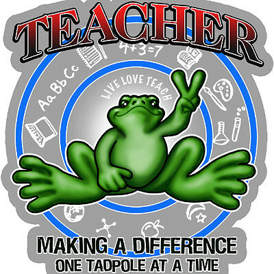 "Peace Frogs Teacher Sticker ~ 5"" Dia ~ High Quality Vinyl ~ Ships Free!!!"