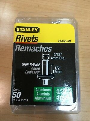 Stanley Paa58-5B Aluminum Rivets, 5/32 Inch X 1/2 Inch, Pack of 50