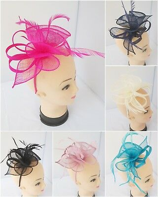 Ladies Women Flower Feather Fascinator Aliceband Hat Hair band Race Royal Ascot