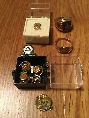 Solid Gold Collectible Lot! Mason Ring, Cities Service Anniversary Pins!