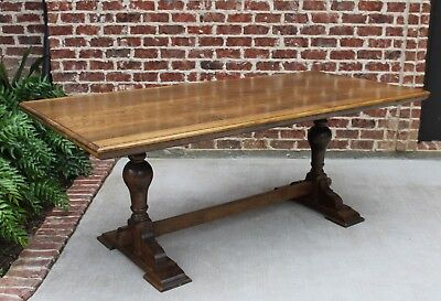 Antique English Oak Country Farm Farmhouse Trestle Dining Table Library Desk