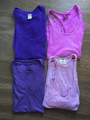 PINK Victoria's Secret LOT 4 Purple Tops And Sleep Shirts XS Extra Small