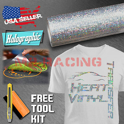 "Holographic Crystal Silver Heat Transfer Vinyl HTV TShirt 20"" Iron On Heat Press"