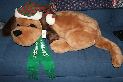 "Huge 32"" long Sleeping Dog by Mary Meyer Schweppes Scarf & Striped Hat"