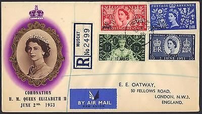 Oman To Uk 1953 Registered Muscat Air Mail Fdc Coronation Of Queen Elizabeth Ii