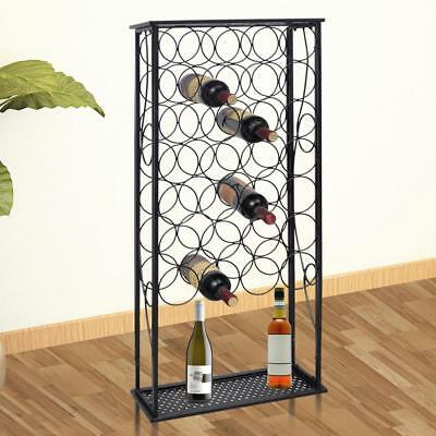 Metal Wine Cabinet Rack Stand 28-Bottles Display Storage Cabinet Home Bar B5G6