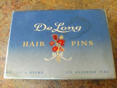 One box of De Long Hair Pins #111 brown
