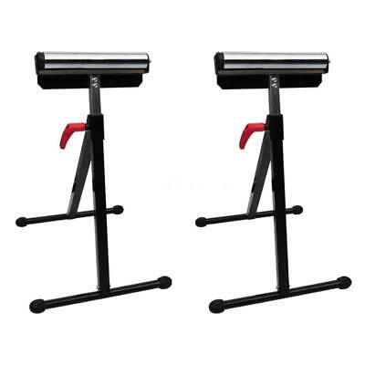 Set of 2 Adjustable Roller Stands Support Stand Steel Heavy Duty Bench Saw U5W0