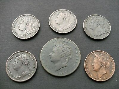 George IV Five Farthing Coins 1821,1822,1823,1825,1826, & Half Penny 1827 Coin.