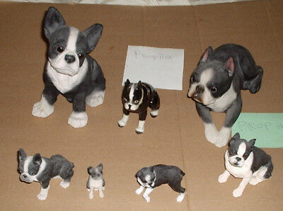 Boston Terrier Dog Statue Lot of 7 Tallest Almost 8 Inches - 2 inches