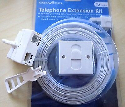 Telephone Extension Socket Box Line Cable Kit 15m - FREE ADSL FILTER & IDC TOOL