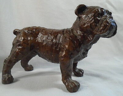 Red Mill American Bulldog Pecan Shell Sculpture Dog Figurine  *
