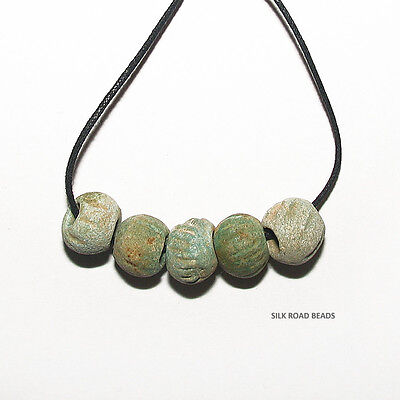 5 amazing ancient egyptian faience glass large melon beads egypt 3,000+ y/o #10a