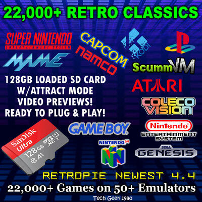 128GB Retropie SD Card V4.4 for Raspberry Pi 3 B+ 22,000+ Games 50+ TOP Systems