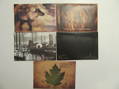 Lot of 5 Canada Uncirculated Sets, 7 coins each, mint packages, mixed dates