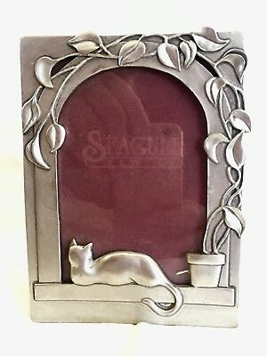 Vintage picture frame for cat lovers pewter, signed & dated
