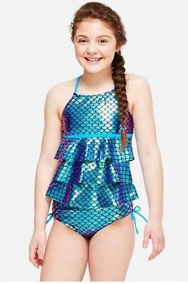NWT JUSTICE Girls 7  Mermaid Scales Tiered Tankini Swimsuit