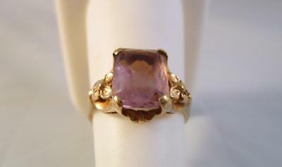 Vintage Antique 10K Solid Yellow Gold 2.50ct Amethyst Ring   2.9G  Size 7.25