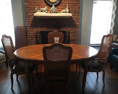 Vtge Thomasville? French Provincial Dining Room Set Table 4 Chairs 3 Leaves