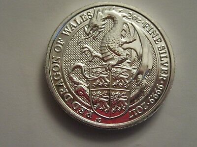 2017 Great Britain 2 oz Silver 5 Pounds, Red Dragon of Wales
