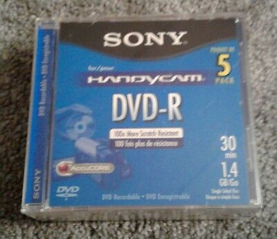 SONY DVD-R 30 Min 1.4 GB Single Sided Monoface Handycam 5 Pack Sealed New