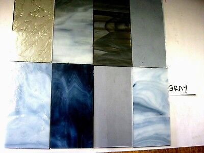 8 Grey Stained Glass Hobby Sheets 100mm x 50mm x 3m  Quality Craft Items