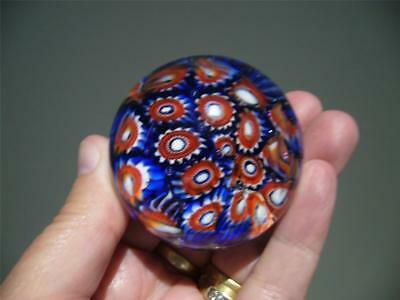 Hand Made Small Glass Paperweight - Millefiori - Red White Blue - Vgc