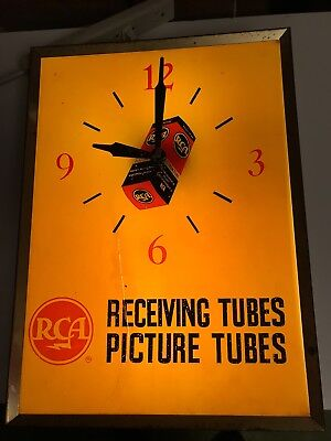 RARE Vintage RCA LIGHTED CLOCK - TV Radio Tubes Receiving Picture / Need Restore