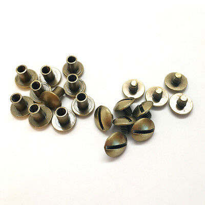 """Brass Plated 10 Pack 0.6 cm 1//4/"""" Chicago Screw Post"""