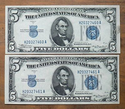 TWO 1934 $5 Silver Certificate Uncirculated,  consecutive  Serial #'s.