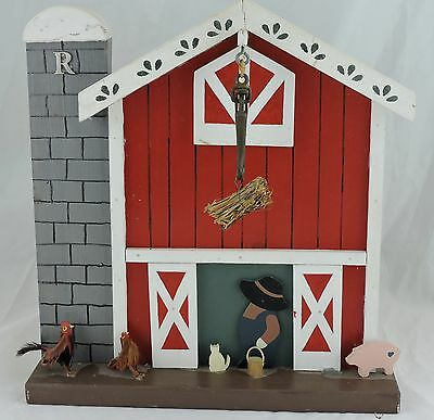 Vintage Farm Figurine Cat,chicken,rooster,pig,barn,wood Hand Made Art Signed