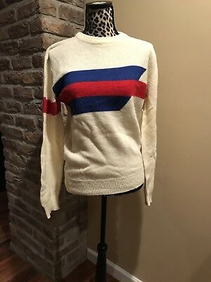 Playboy Women's Sweater M VTG Tan Red Blue Geometric Men's Acrylic Stripe 70-80s