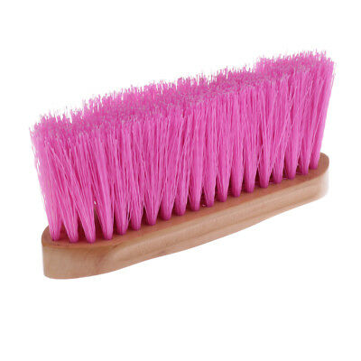 Horse Brush Body Hair Cleaning Tool Equestrian Equipment w/ Wood Grip Pink