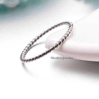 SILVER Tone Stainless Steel Twisted Rope Ring Stackable Size 4 5 6 7 8 9