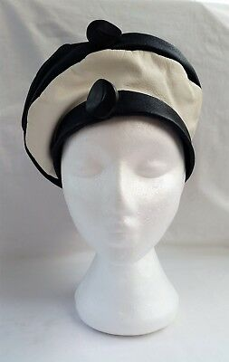 Vintage 1960's English Navy Blue & White leather Beret Style Leather Hat