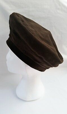 Women's Vintage 1960's Brown Suede leather Beret Style Hat