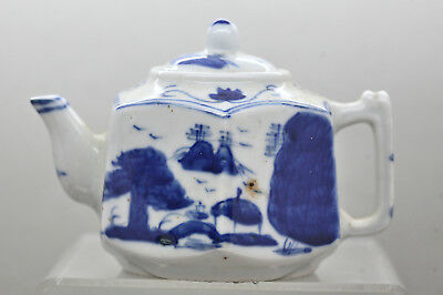 Beautiful  Hand Painted Chinese Blue & White Porcelain Display Teapot Vintage