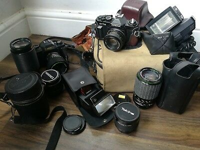 vintage camera job lot unsorted, untested house clearance
