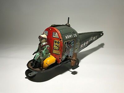 Vintage Tin Toy Army Helicopter Windup chopper tinplate plate plane aircraft