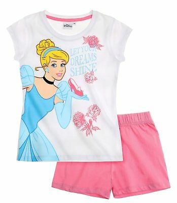Girls Disney Princess Cinderella Short Sleeve Summer T Shirt & Shorts Pyjamas